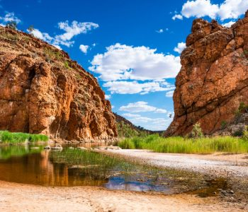 Scenic panorama of Glen Helen gorge in West MacDonnell National Park in NT central outback Australia